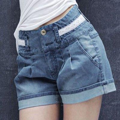 High Waist Loose Laciness Spliced Denim Shorts