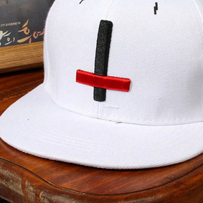 stylish-black-red-cross-shape-embroidery-decorated-baseball-cap-for-men