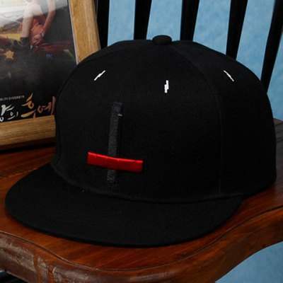 Stylish Black and Red Cross Shape Embroidery Decorated Baseball Cap For Men