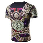 cheap Casual 3D Chain Printed Short Sleeves Round Neck T-Shirt For Men