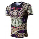 Casual 3D Chain Printed Short Sleeves Round Neck T-Shirt For Men