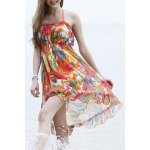 cheap Sexy Halter Floral Print Backless Three-Piece Women's Swimsuit