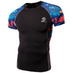 cheap Quick-Dry Sea World Print Round Neck Short Sleeves Skinny T-Shirt For Men
