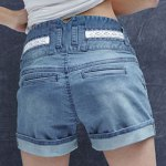 cheap Trendy High Waist Loose Laciness Spliced Denim Shorts For Women