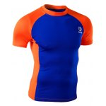 Summer Round Neck Color Spliced Short Sleeves Sweat Dry Tight T-Shirt For Men