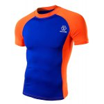 cheap Summer Round Neck Color Spliced Short Sleeves Sweat Dry Tight T-Shirt For Men