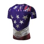 cheap 3D Stars Printed Round Neck Short Sleeve T-Shirt For Men