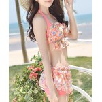 cheap Stylish Halter Floral Print Ruffled Bikini Set For Women