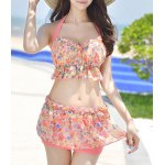 Stylish Halter Floral Print Ruffled Bikini Set For Women