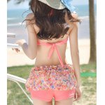 Stylish Halter Floral Print Ruffled Bikini Set For Women deal
