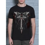 cheap 3D Wolf and Sword Print Round Neck Short Sleeves Cool T-Shirt For Men