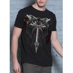 3D Wolf and Sword Print Round Neck Short Sleeves Cool T-Shirt For Men deal