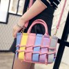 cheap Sweet Color Block and PU Leather Design Tote Bag For Women