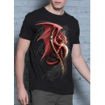 Hot Sale 3D Firedragon Print Round Neck Short Sleeves Black T-Shirt For Men deal