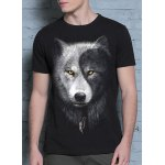 cheap Cool 3D Wolf Print Round Neck Short Sleeves Black T-Shirt For Men