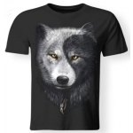 Cool 3D Wolf Print Round Neck Short Sleeves Black T-Shirt For Men