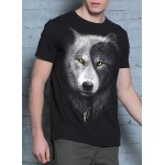 Cool 3D Wolf Print Round Neck Short Sleeves Black T-Shirt For Men deal