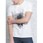 Solid Color 3D Abstract Print Round Neck Short Sleeves T-Shirt For Men deal