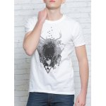 cheap Solid Color 3D Abstract Print Round Neck Short Sleeves T-Shirt For Men