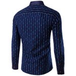 cheap Turn-Down Collar Color Block Waviness Stripe Print Long Sleeve Shirt For Men