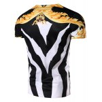 cheap 3D Color Block Abstract Printed Round Neck Short Sleeve T-Shirt For Men