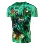 cheap 3D Jungle and Leopard Printed Round Neck Short Sleeve T-Shirt For Men