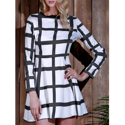 Round Neck Long Sleeve Plaid Dress For Women