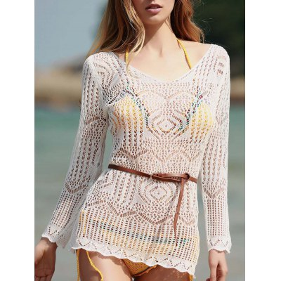 Scoop Neck Long Sleeve Hollow Out Cover-Up