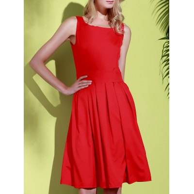 Scoop Collar Sleeveless Solid Color Midi Dress