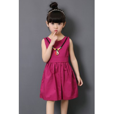 Jewel Neck Sleeveless Necklace Design Girl's Mini Dress