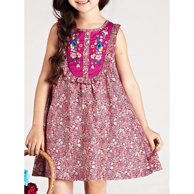 Sleeveless Tiny Floral Print Embroidered Girl's A-Line Dress