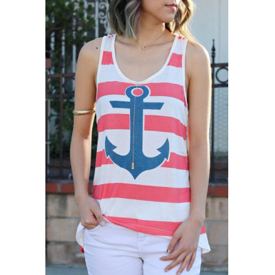 Scoop Collar Sleeveless Striped Anchor Print Tank Top