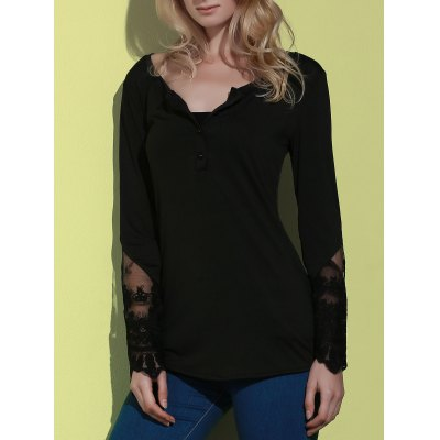Simple Style Back Slit Lace Spliced Bodycon T-Shirt For Women