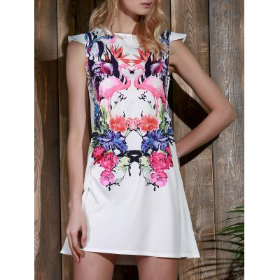 Colorful Crane and Floral Printed Straight Dress