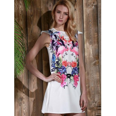 Cute Colorful Crane and Floral Printed Straight Dress For Women