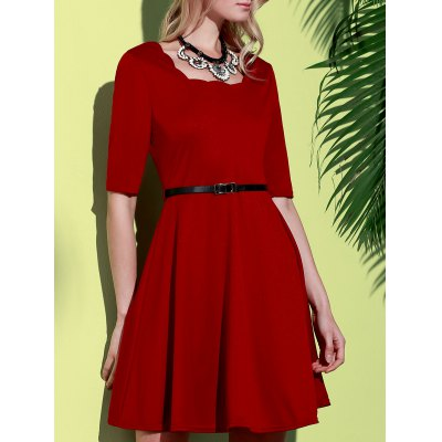 Square Neck Half Sleeve Pure Color A-Line Dress