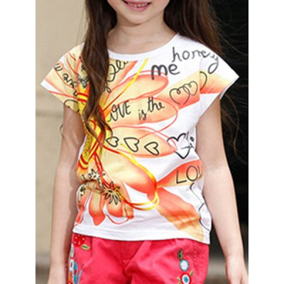 Short Sleeve Flower Print Letter Pattern T-Shirt For Girl