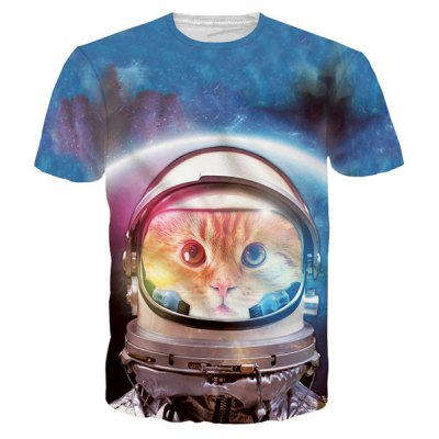 Vogue Round Neck 3D Space Cat Print Short Sleeves Ombre T-Shirt For Men