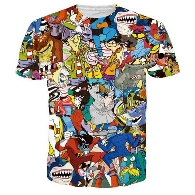 Funny 3D Cartoon Print Round Neck Short Sleeves T-Shirt For Men