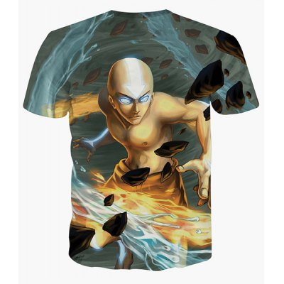 Cool 3D Monk Print Round Neck Short Sleeves T-Shirt For Men