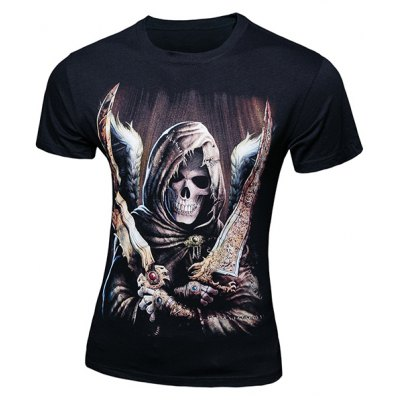 Skull Printing Pullover Short Sleeves T-Shirt For Men