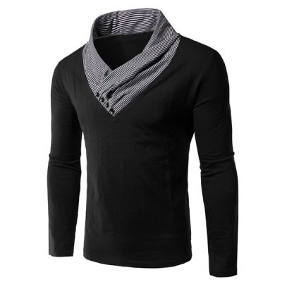 Special Neck Color Block Long Sleeves T-Shirt