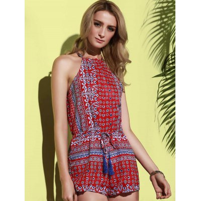 Sexy Round Collar Sleeveless Printed Hollow Out Women's Romper