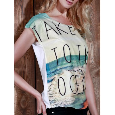 Scoop Neck Beach Print Short Sleeve T-Shirt For Women