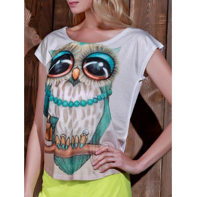 Women's Scoop Neck Owl Print Short Sleeve T-Shirt