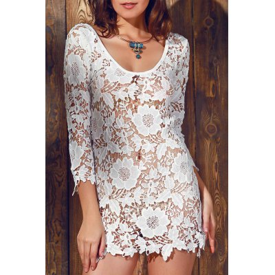Sheer Scalloped Lace Cover Up