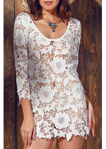 Scalloped Lace Sheer Swimsuit Cover Ups Dress