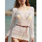 Stylish Scoop Neck Long Sleeve Hollow Out Women's Cover-Up