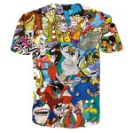 cheap Funny 3D Cartoon Print Round Neck Short Sleeves T-Shirt For Men