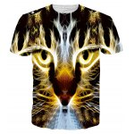 Gleamy 3D Tiger Print Round Neck Short Sleeves T-Shirt For Men